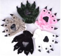 New Arrive Warm Unisex Plush Fancy Party Kigurumi Pet Panda Bear Cat Animal Paw Claw Hand Gloves Woman Man