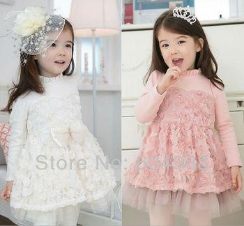 2013 New style girl rose flower dress girl lace dress