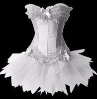 White Burlesque Lace Up Corset Bustier TUTU Skirt  Lolita FANCY DRESS S-2XL