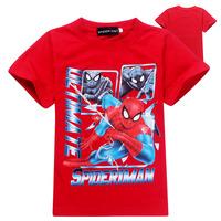 Wholesale 2014 Fashion Cotton boy's t-shirts baby t shirts Popular Spiderman childrens t shirt 6pcs/lot kids wear Free Ship