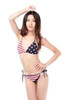 Wholesale Women Swimwear American Flag Stars Bikini Triangle BRA top Panties Briefs Beachsuits Free Shipping(2041-21)