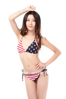 Wholesale Women Swimwear American Flag Stars Bikini Triangle BRA top Panties Briefs Beachsuits Free Shipping(2041-21)