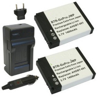 2X AHDBT-001 AHDBT-002 Li-Ion Batteries and Charger for Gopro HD Helmet HERO,Motorsports HERO, HERO2.Free Shipping.