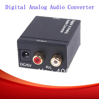 New Audio converter Digital Optical Coax Toslink to Analog Audio Converter adapters black free shipping PCAO0001