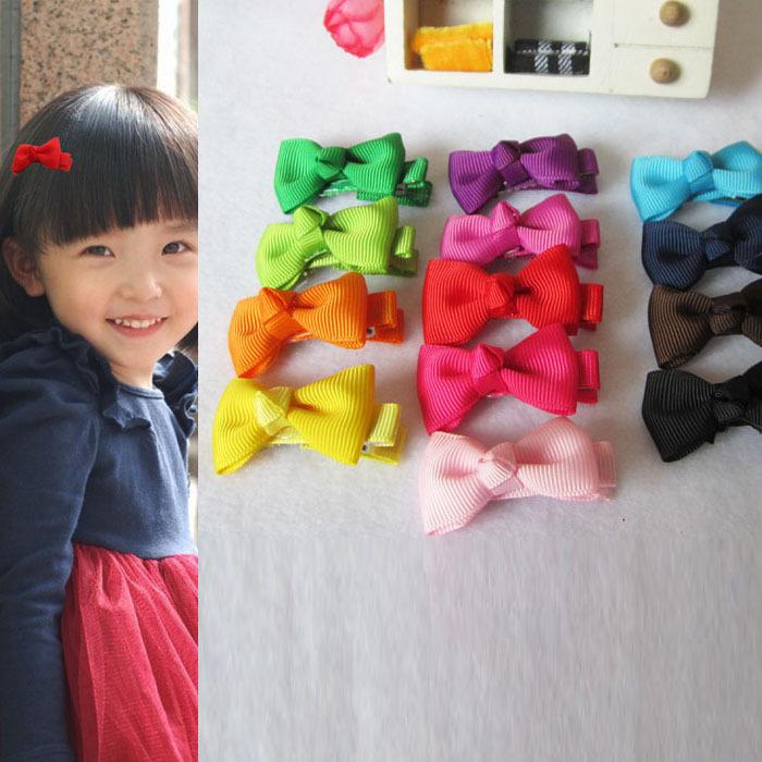 Fashion Baby Girl Hair Clips Single Bowknot Hair Accessores Mix Color(China (Mainland))