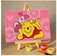Free shipping Children's gifts DIY Paint By Numbers Acrylic Drawing Gift 4 Kids With Brush Paints Home Decorating Winnie 2
