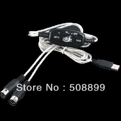 Freeshipping MIDI USB Cable Converter to PC Music Keyboard Adapter Retail+Dropshipping(China (Mainland))