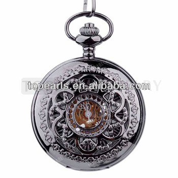 Topearl Jewelry Black Mechanical Pocket Watch LPW701