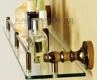 Free shipping bathroom vintage golden single layer glass bath shelf aluminum tempered glass bathroom accessories