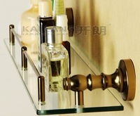Free shipping bathroom vintage golden single layer glass bath shelf aluminum tempered glass bathroom accessories