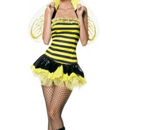 Free Shipping Women Sexy Halloween Costume Dress Honey Bee Cosplay Clubwear Party Costume Exotic Yellow Color MOQ 1Pic 1140