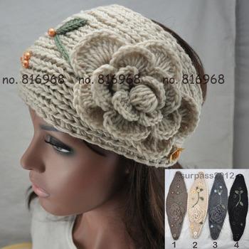 Women Crochet Headband Lady Big Size Knit Headwear Flower Headwrap ear warmer