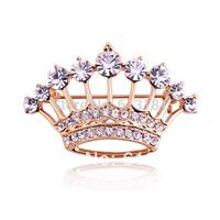 1 Pcs Free shipping,High quality Alloy 18K Gold Rhinestone Crystal Crown Brooch For Women/Men