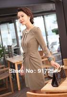 New Fashion Spring Summer Autumn Dresses Women Ladies OL Formal Elegant One Neck Trendy Work Wear Dress Free Shipping
