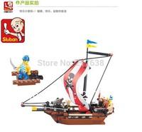 Free shipping! Sluban 226pcs/set pirates series DIY warriors assembling block toys.