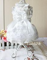 Luxury White Pink Purple Dog Cat Puppy Party Wedding Dress Dog Princess Skirt Pet Clothes XS S M L XL Free Shipping
