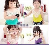 free shipping ! 5pcs/lot ! baby girl kids lace tops rosette floral flower tank top singlet shirt vest tops blouse,4colour