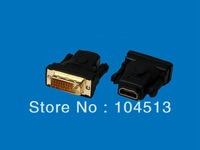 DHL Free shipping Black color DVI 24+1 Male To HDMI Female Converter Adapter,200pcs/lot
