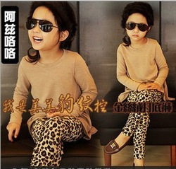 free shipping Thickening 5pcs/lot lowest 2013 new winter baby leggings leopard girl&#39;s tights pants top quality kids trousers(China (Mainland))