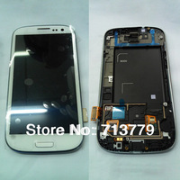 for Samsung Galaxy S3 I9300 lcd display+touch screen digitizer+frame assembly white original (1pc) by free shipping