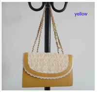 famous brand handbag, PU + lace flower, Size: 26 x 16cm, , 5 different colors(yellow),includng a shoulder strap, Free shipping