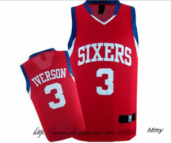 Free delivery, 76 ers --White font # 3 iverson red basketball uniforms(China (Mainland))