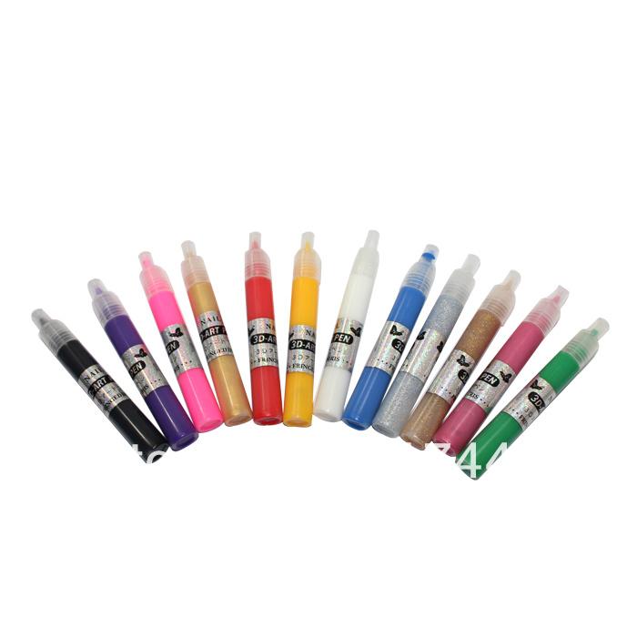 Brand New 12 Colors DIY 3D Nail Art Painting Polish Pen Set 3D Nail Art DIY Decoration/3D DESIGN PAINT PEN Gift 608