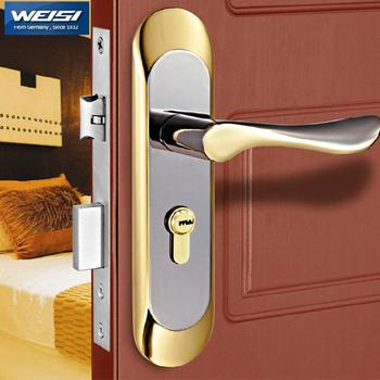 Door lock, European indoor door lock bedroom real wood door locks with hand.