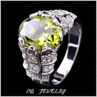 Jewelry   Man's peridot 14KT White Gold Filled Ring SZ10  1pc  Freeshipping
