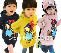 2013 autumn winter child children's clothing plus velvet thickening female child with a hood outerwear large sweatshirt