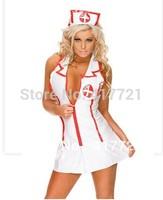 Free shipping ML5306 Halloween Nurse Costume For Women Infirmiere Sexy Lingerie Deep V Neck Fancy Nurse Dress Uniform Cosplay