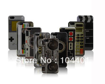 10pcs/Lot New Tape Cassette Retro Boombox FE90 Camera calculator Hard Plastic Case for iphone 5 5th 5G Hong Kong Air Mail