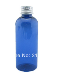 100pcs/ lot 100ml empty Plastic Bottles, clear PET bottle with Lined Aluminum Silver Lid(China (Mainland))