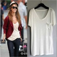 Pure& Simple STYLE   short-sleeved T-shirt Women's  Bottoming shirts With Chest pocket