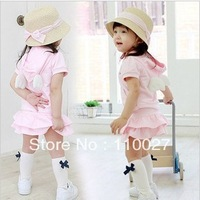 free shipping girl summer 2pcs clothing set baby pink short sleeve tops + tutu with angel wings fashion suits 5pcs/lot wholesale