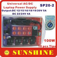 SP20-2 Universal AC/DC Laptop Power Supply  Input AC 100~240V Output DC 12/15/16/18/19/20V 5A 22/24V 5A 100W 10 tips Most Laptop