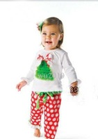 Christmas clothes Girls' suits , girls cotton long-sleeved T-shirt + Polka Dot Pants