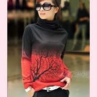 Women's basic shirt cashmere sweater turtleneck print sweater short design pullover female Watermelon Red Gradient clothing