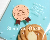 Free shpping! 750pcs Classic Medal shape 'Handmade' DIY Baking/Bakery Tags/Stickers/Labels/Seals
