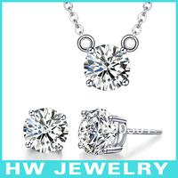 6mm zircon 925 sterling silver jewelry set
