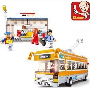 Free Shipping SLuban M38-B0332 465pcs DIY large Building Bricks blocks educational children toys  building block sets city Bus