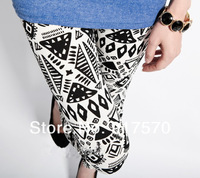 2014 Fashion Black White Geometric Leggings Skinny  Stretch Pants Shipping With Tracking Number