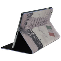 Retro style Italy Leaning Tower PU Stand Leather Case Cover for iPad 5 4 / 3 / 2