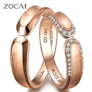 пара zocai 0,18 ct сертифицированных я/si diamond его и ее свадьба band кольца мноёеств круглый cut 18k розового золота ювелирной