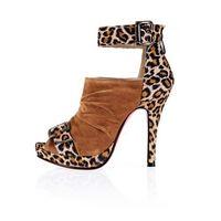 Roman style sweet lady Waterproof leopard grain foot ring bind belt pumps fashion women high heel shoes sandals