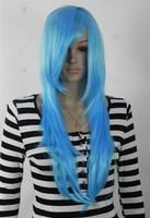 2013 New Fashion halloween Gaga long straight baby blue cosplay wig  with free wig cap free shipping fee
