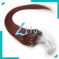 "16""-26""Natural Silky Straight Micro Loop Ring/Beads Hair Extensiont #33 dark auburn,100s per pack"