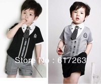 wholesale Retail !!!Top sale 2013 New fashion School uniform style With short sleeves+ suit pants for boys clothing sets