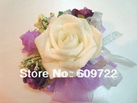 2014  Free Ship  Wholesale Prom corsage Artificial Rose Wrist Flower 5 Color  in Wedding Decoration FL1209