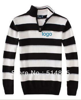 free shipping men's brands polo stripe pullovers pony zip knitted sweater fashion costume Men's original Polo loose  sweater